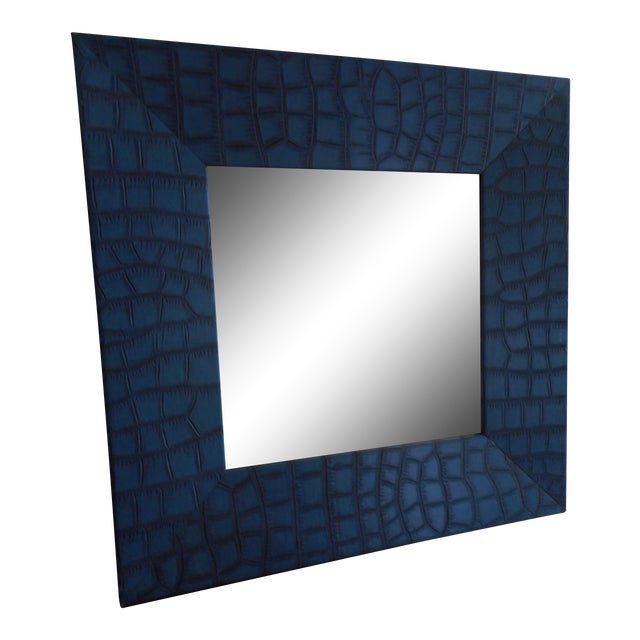 Modern Blue Leather Faux Crocodile Mirror - Image 1 of 4