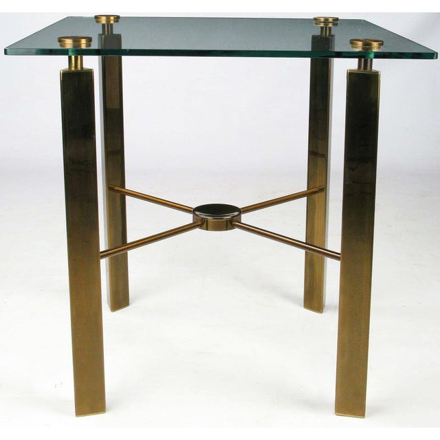Postmodern Brass And Glass End Table - Image 2 of 6