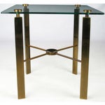 Image of Postmodern Brass And Glass End Table