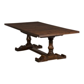 Hand-Planed, Waxed Cherrywood Trestle Table with Three Leaves from England