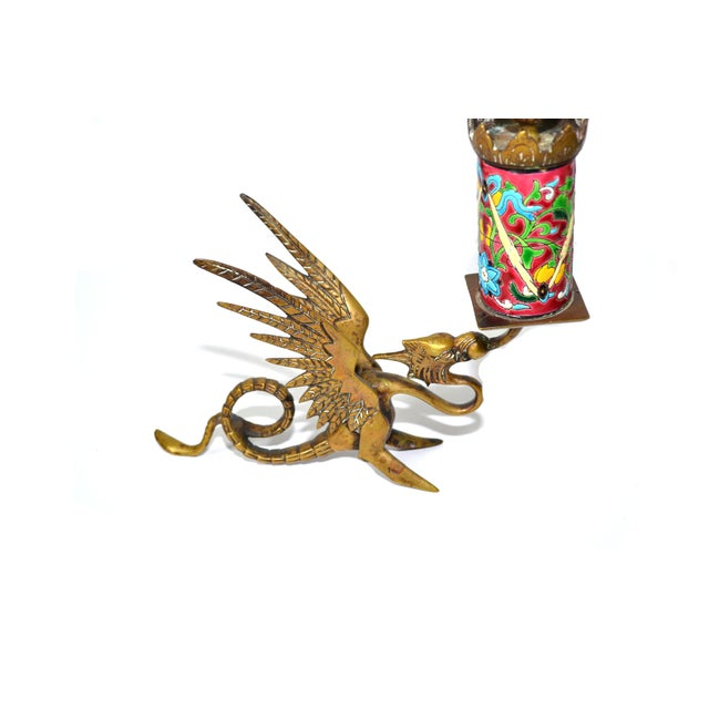 Antique Longwy Gryphon Candlesticks - A Pair - Image 3 of 7