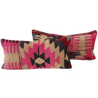 Pink Turkish Kilim Cushions - Pair