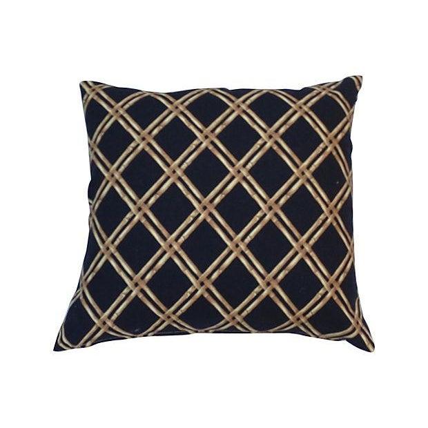 Black & Tan Bamboo Lattice Pillows - A Pair - Image 3 of 5