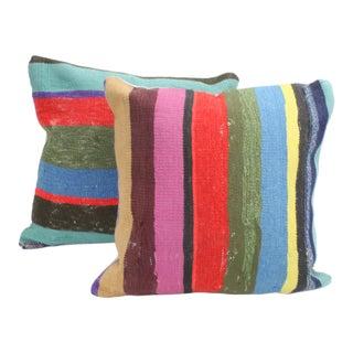 Striped Turkish Kilim Throw Pillows - A Pair