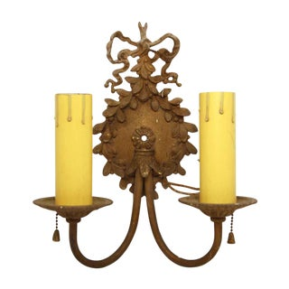 Brass Beaded Ribbon Wall Sconces - a Pair