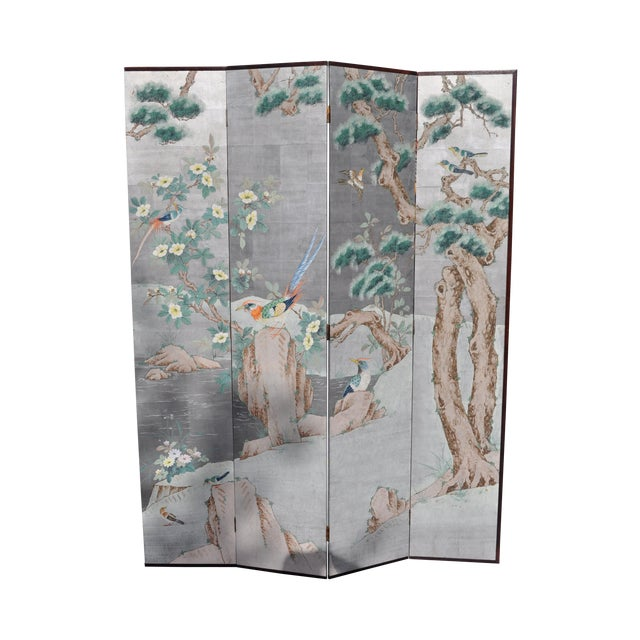 Vintage Chinoiserie Hand Painted Folding Screen - Image 1 of 7