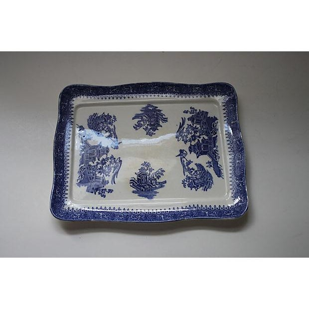 Image of 19th Century Blue Willow Ironstone Tray