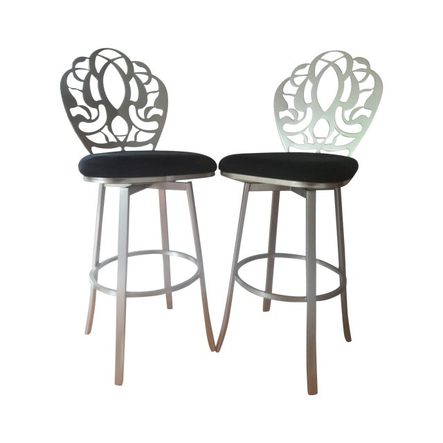 Carved Brushed Nickel Barstools - A Pair - Image 1 of 9