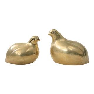 Brass Quail Bird Figurines - A Pair