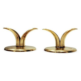"""Ystad Swedish Brass """"Lily"""" Candle Holders - A Pair"""