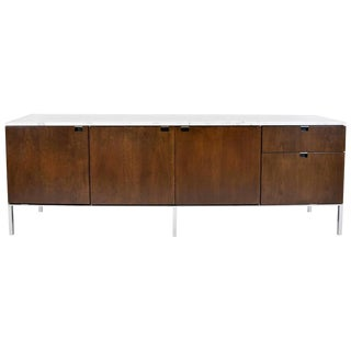 Early Florence Knoll Walnut Credenza with Marble Top