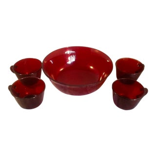 Cranberry Glass Coffee Cups and Bowl - Set of 5