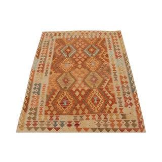Afghani Design Vegetable Dyed Wool Kilim Rug - 5′2″ × 6′5″