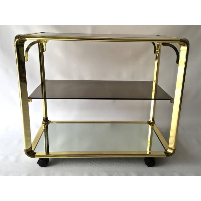 Vintage 1970s Smoked Glass & Mirror Brass Bar Cart - Image 2 of 6