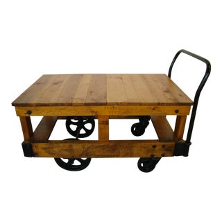 Vintage Honey Pine Nutting Factory Cart 2 Level Server on Wheels