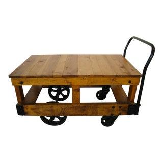 Vintage Honey Pine Nutting Industrial Cart 2 Level Server on Wheels