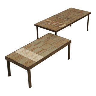 Roger Capron pair of signed side tables, France, 1950s