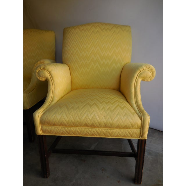 Vintage Yellow Fabric Bergere Chairs - A Pair - Image 3 of 7