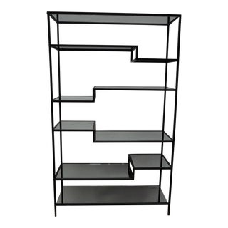 Mirrored Glass & Iron Stepped Bookshelf