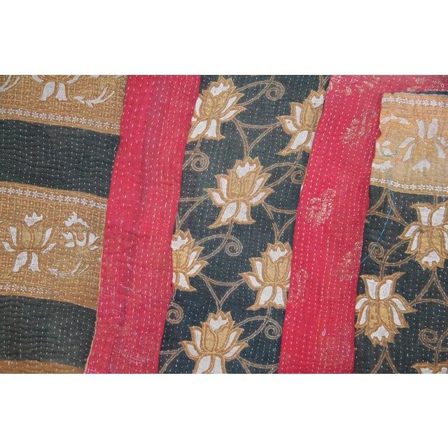Vintage Brown & Blue Turkish Kantha Quilt - Image 2 of 2