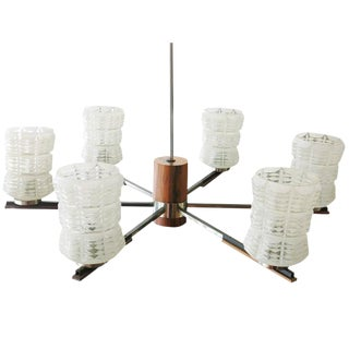 Italian Mid Century Sputnik Chandelier in Rosewood Chrome with Glass Shades