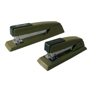 Vintage Avocado Green Swingline Staplers - Pair