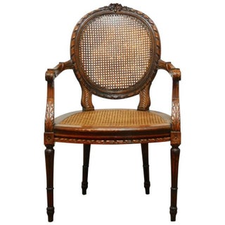 Neoclassical Louis XVI Caned Fauteuil