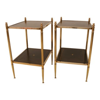 Vintage Brass & Green Leather Side Tables - A Pair