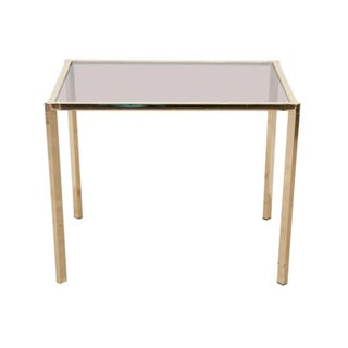 1970s Modern Brass and Smoked Glass Side Table