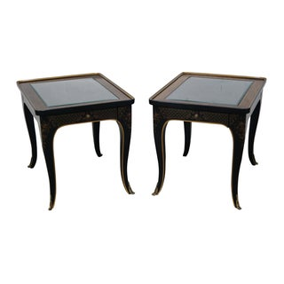 Drexel Heritage Chinoiserie & Burl Tables - Pair