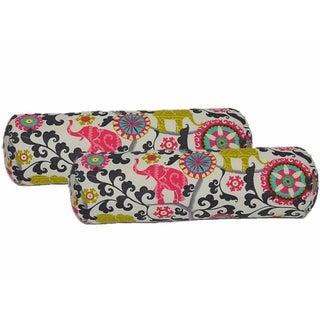Bohemian Elephant Print Lumbar Pillows - a Pair