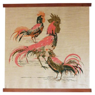 Vintage Screen Printed Rooster Wall Hanging