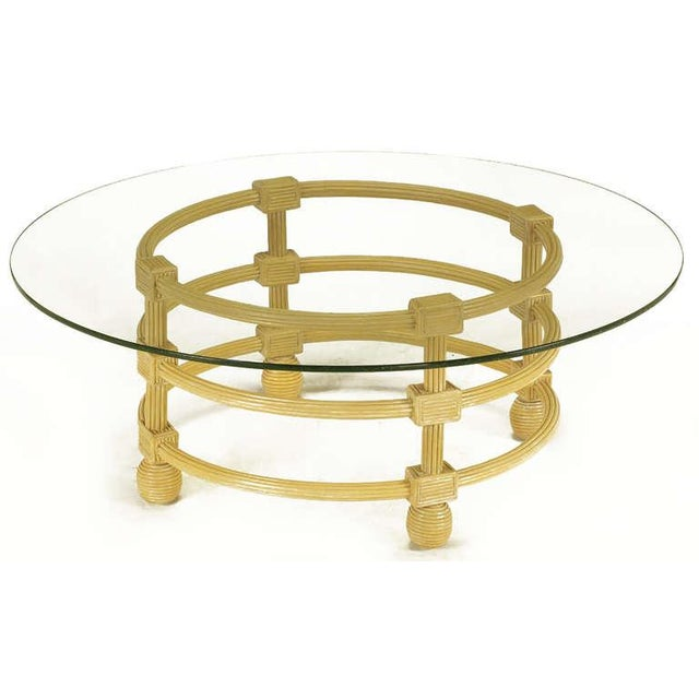Jay Spectre Round Reeded Wood Coffee Table - Image 4 of 7