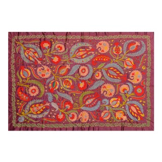 Uzbeki Silk Suzani Throw