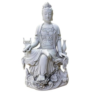 Chinese Off White Porcelain Kwan Yin Statue