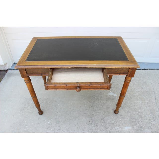 Faux Bamboo Desk with Leather Inlay - Image 11 of 11
