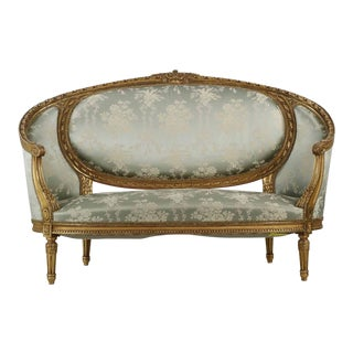 French Louis XVI Style Carved Giltwood Canape
