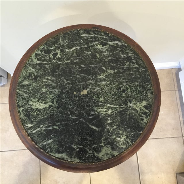 Round Green Marble : Vintage round lamp green marble top side table chairish