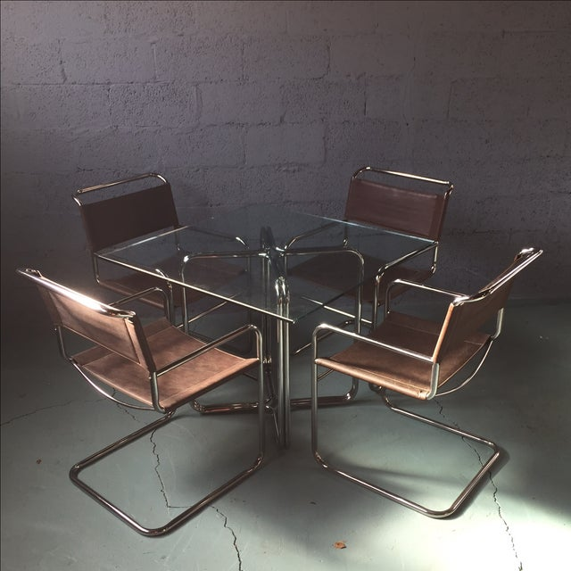 Crome & Glass Cantilever Dining Set - Image 2 of 11