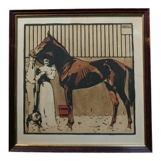 Arabian Horse Original Color Woodcut Print