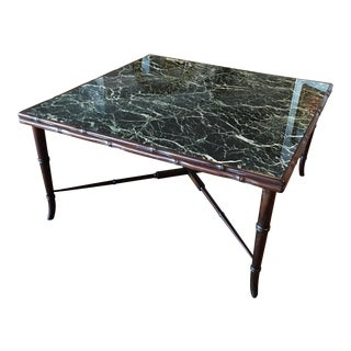 Mid-Century Regency Faux Bamboo Marbled Table