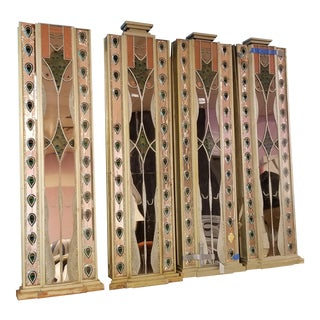 1970's Art Deco Egyptian Nude Female Mixed Media Panels - Set of 4