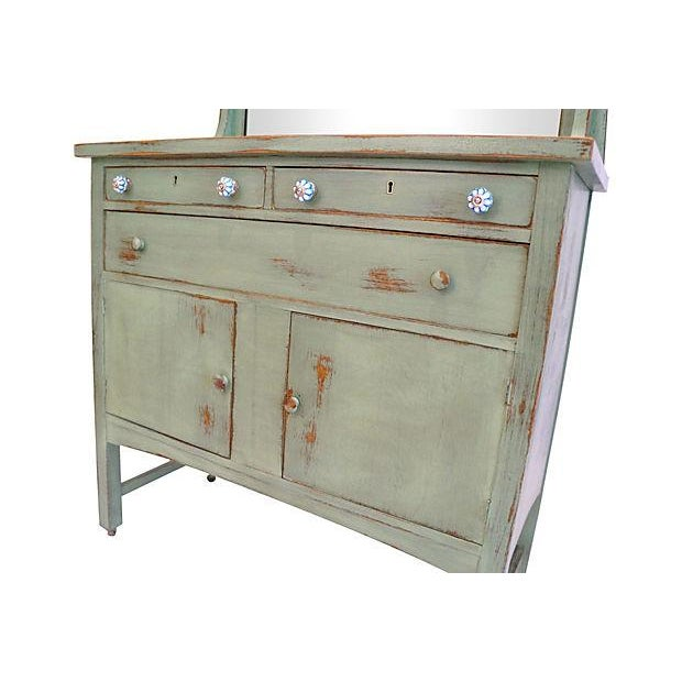 Distressed Green Mirror Hutch - Image 3 of 6