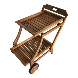 Restoration Hardware Modern Teak Bar Cart With Removable Tray