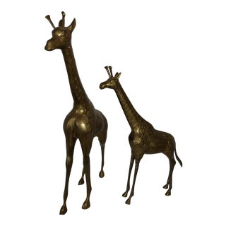 22 Inch 1960's Mid Century Brass Giraffe and Baby - a Pair