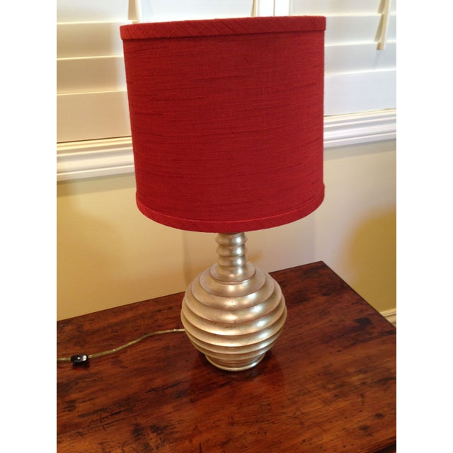 Image of Silver Spiral Lamp Base with Red Cylindrical Shade