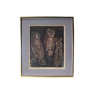 """""""Three Owls"""" Woodblock Print by Fannie Mennen"""