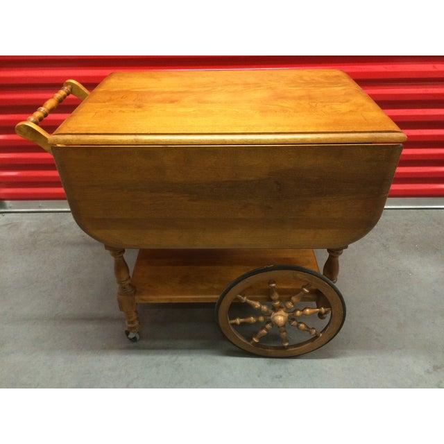 Vintage Solid Maple Drop-Leaf Tea Cart - Image 2 of 7