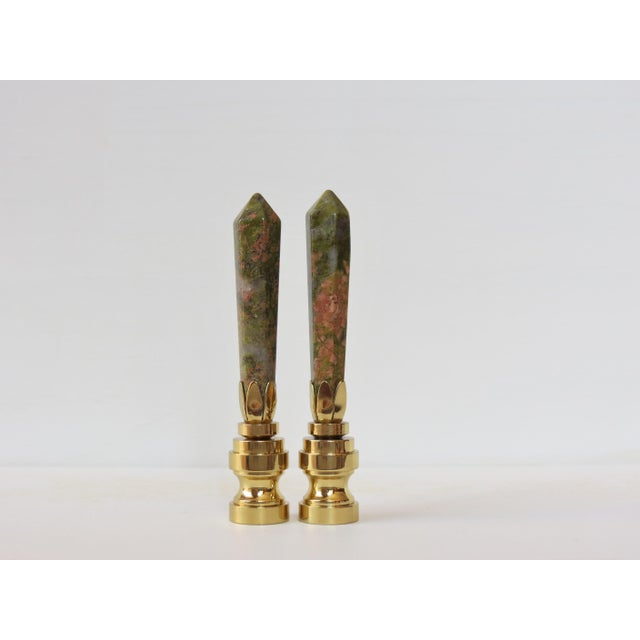 Coral & Jade Obelisk Gemstone Finials - A Pair - Image 2 of 3