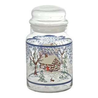 Winter Holiday Cabin Glass Jar